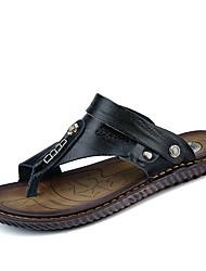 Herren Sandalen Komfort Leder Sommer Normal Komfort Flacher Absatz Schwarz Blau Flach