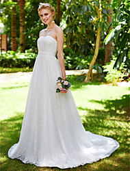 LAN TING BRIDE A-line Wedding Dress Simply Sublime Floor-length Sweetheart Lace Tulle with Draped Lace Sash / Ribbon