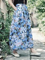 Da donna Divertente Moda città Per uscire Casual Midi Gonne,Altalena a dondolo Fantasia floreale Geometrica Con stampe Primavera Estate