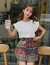 Mujer Simple Casual Verano T-Shirt Falda Trajes,Escote Redondo Un Color Sin Mangas Microelástico
