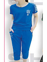 Mujer Casual Deporte Casual Verano T-Shirt Pantalón Trajes,Escote Redondo Un Color Manga Corta Microelástico