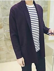 Для мужчин Повседневные Обычный Кардиган Однотонный,V-образный вырез Длинный рукав Хлопок Вязаная одежда Весна Осень Средняя