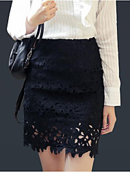 Women's Going out Mini Skirts,Sexy Simple Bodycon Lace Cut Out Solid All Seasons