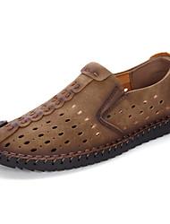 Men's Oxfords Gladiator Novelty Leather TPU Summer Fall Casual Gladiator Novelty Flat Heel Khaki Light Brown Black Flat