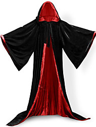 Black Velvet/Red Satin Wizard Robe Coat Cosplay Costumes Cloak Witch Broom Halloween Party Costume Heroes Bat Witch Queen Ghost Zombie Vampire