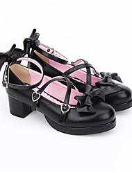Scarpe Dolce Lolita Classica e Tradizionale Lolita Da principessa Fatto a Mano Quadrato Fiocco Lolita 4.5 CM Nero PerSimilpelle/Costumi