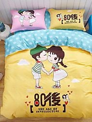 New Cartoon Painting 4 Piece Bed Sets Pure Cotton Cloth Machine Made 1pc Duvet Cover(200X230cm) 2pcs Shams(48X74cm) 1pc Flat Sheet(230X245cm)