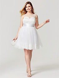 2017 Plus Size Cocktail Party Dress - Open Back Lace-up Princess Jewel Knee Length Tulle with Appliques Pearl Detailing Sash / Ribbon Pleats Ruching