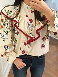 Feminino Blusa Diário Casual Sensual Fofo Moda de Rua Primavera Verão,Sólido Floral Bordado Poliéster stretch chiffon Colarinho Chinês