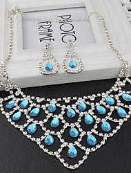 Women's Drop Earrings Bridal Jewelry Sets Aquamarine AAA Cubic Zirconia Friendship Vintage Elegant Gemstone Cubic Zirconia Drop For