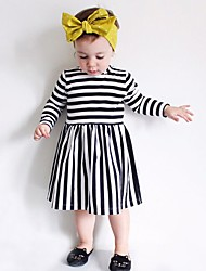 Fashion New Girl's Striped Dress Cotton Spring Fall Long Sleeve Autumn Winter Kids Girls Clothes