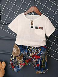 Мальчики Наборы Хлопок Однотонный Лето Набор одежды