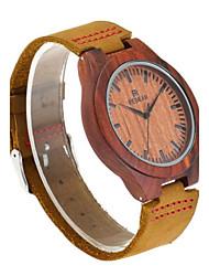 REDEAR®Men's Wood Watch Japanese Quartz Wooden Genuine Leather Band Elegant Brown