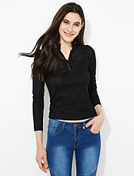 Damen Solide Einfach Ausgehen T-shirt,Ständer Herbst / Winter Langarm Weiß / Schwarz / Gelb Polyester Mittel
