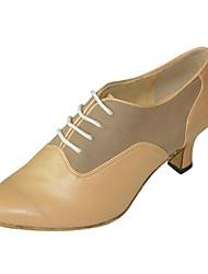 Damen Latin Leder Sandalen Sneakers Professionell Verschlussschnalle Stöckelabsatz Braun Maßfertigung