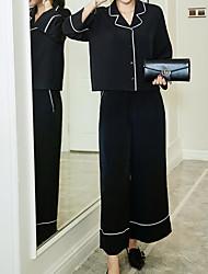 Costume / Tailleur Femme,Couleur Pleine Décontracté / Quotidien simple Printemps Manches longues Col de Chemise Normal Nylon