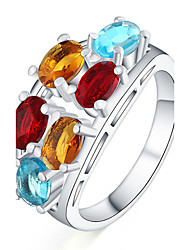 Silver Plated Ring Color Zircon Jewelry For Daily 1pc