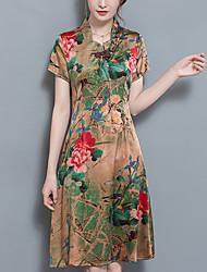 Feminino Evasê Bainha Vestido,Casual Tamanhos Grandes Simples Temática Asiática Floral Colarinho Chinês Longo Manga Curta Seda Verão