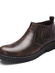 Herren Sneaker Komfort Modische Stiefel Stiefeletten PU Herbst Normal Komfort Modische Stiefel Stiefeletten Blockabsatz Grau Dunkelbraun