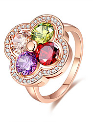 Women's Ring Multi-stone Flower Style Adorable Elegant Rose Gold Cubic Zirconia  Jewelry For Wedding Anniversary Party/Evening