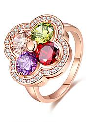 Damen Ring Multi-Stein Blumen Stil bezaubernd Elegant Kubikzirkonia Blumenform Schmuck Für Hochzeit Party Verlobung Zeremonie Valentinstag