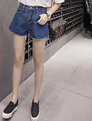Women's Mid Rise Micro-elastic Jeans Shorts Pants,Simple Relaxed Solid