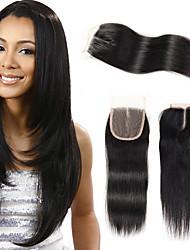 Бразильская прямая волна 4 * 4 швейцарских кружева закрытия remy человеческих волос 3 вида стиля для красоты леди цвет 1b