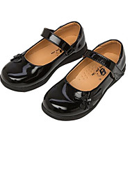 Girls' Flats Comfort Patent Leather Spring Fall Casual Walking Comfort Magic Tape Low Heel Black White Flat