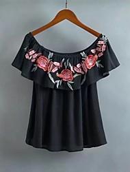 Для женщин На выход На каждый день Лето Блуза Вырез лодочкой,Секси Простое Уличный стиль Однотонный Цветочный принт ВышивкаС короткими