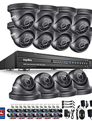 SANNCE® 16CH 12pcs CCTV Security System 1080P AHD/TVI/CVI/CVBS/IP 5-in-1 DVR with 2.0MP Night Vision Weatherproof  Camera No HDD Free Shipping