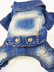 Dog Denim Jacket/Jeans Jacket Dog Clothes Cowboy Casual/Daily Jeans Dark Blue Blue