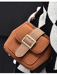 Women Shoulder Bag PU All Seasons Casual Outdoor Round Button Brown Dark Gray