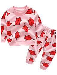 bébé Enfants Coton Décontracté / Quotidien Vacances Sortie Dessin-Animé Motif Animal Ensemble de Vêtements,Dessin Animé Printemps Automne