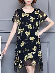 Для женщин На каждый день Большие размеры Простое Шифон Платье Цветочный принт,Круглый вырез Выше колена С короткими рукавами Полиэстер