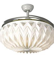 42-дюймовый невидимый потолочный вентилятор современная / современная белая функция для светодиодной металлической спальни столовая