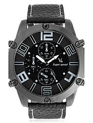Homens Relógio de Moda Único Criativo relógio Chinês Quartzo Mostrador Grande Couro Banda Legal Preta
