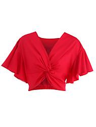 Damen Solide Sexy Einfach Niedlich Ausgehen Lässig/Alltäglich T-shirt,V-Ausschnitt Sommer Kurzarm Baumwolle Polyester Mittel