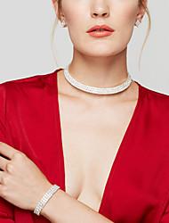 Women's Jewelry Set Stud Earrings Choker Necklaces Tennis Bracelet Fashion Bridal Elegant Costume Jewelry Imitation Diamond Circle