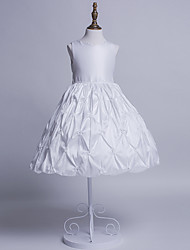 Ball Gown Tea-length Flower Girl Dress - Polyester Sweetheart with Ruching