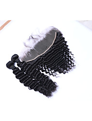 Natural Color Hair Weaves Brazilian Texture Deep Wave More Than One Year Three-piece Suit hair weaves