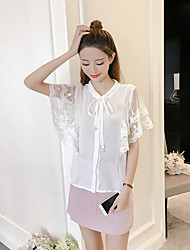 Women's Casual/Daily Simple Blouse,Solid Stand Short Sleeve Silk