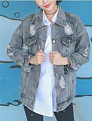 Для женщин Повседневные Лето Джинсовая куртка Рубашечный воротник,Современный Однотонный Обычная Длинный рукав,Хлопок Другое