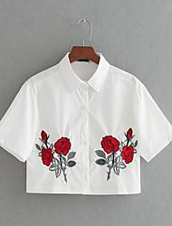 Damen Stickerei Einfach Alltag Normal T-shirt,Hemdkragen Kurzarm Baumwolle