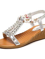 Damen Sandalen Rustikal Modisch PU Frühling Sommer Party Alltag Ausgehen Rustikal Modisch Schnalle Flacher Absatz Gold Silber 2,5 - 4,5 cm