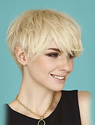 Fluffy And Temperamental  Side Bangs Short  Human Hair Wigs