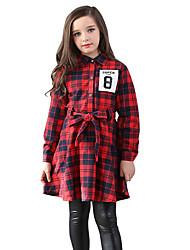 Menina de Vestido Xadrez Todas as Estações Algodão Manga Longa