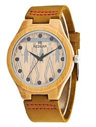 REDEAR®Women's Men's Fashion Watch Wood Watch Japanese Quartz Wooden PU Genuine Leather Band Charm Elegant  Khaki