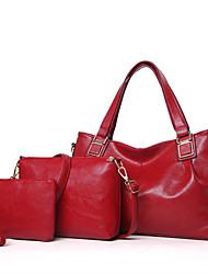 Mulher Conjuntos de saco Outros Tipos de Couro Todas as Estações Outros zíper Azul Preto Vermelho Rosa