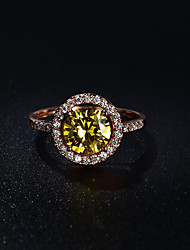 Women's Ring  Vintage Elegant Citrine Cubic Zirconia Ring Jewelry For Wedding Anniversary Party/Evening Engagement