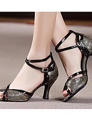 Damen Tanz-Turnschuh PU Sandalen Sneakers Im Freien Blockabsatz Gold Schwarz 5 - 6,8 cm